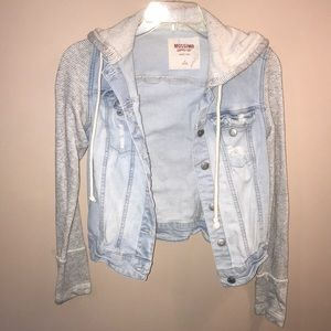 light denim, grey and white stripped jacket